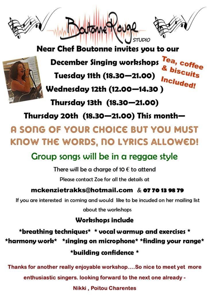 singing workshop flyer December 18