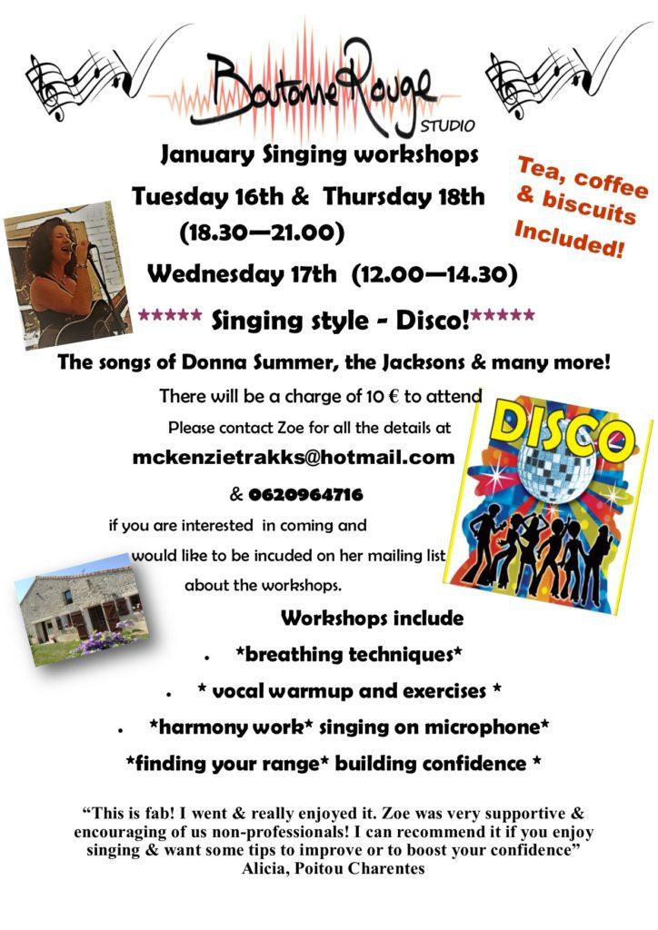 singing workshop flyer January 18